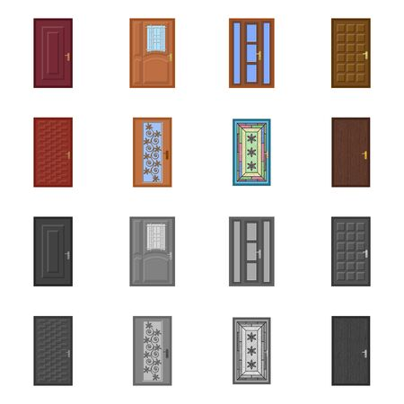 Isolated object of door and front sign. Set of door and wooden vector icon for stock. Stock Illustratie