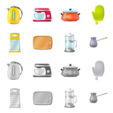 Vector illustration of kitchen and cook. Collection of kitchen and appliance stock vector illustration.