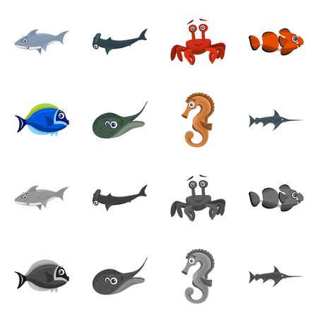 Vector design of sea and animal. Collection of sea and marine stock symbol for web.