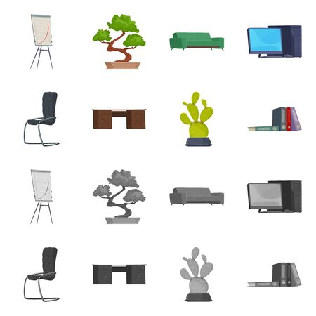 Vector illustration of furniture and work. Collection of furniture and home vector icon for stock. Illusztráció