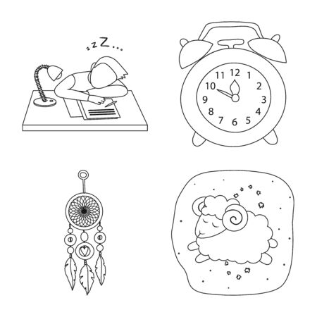 Vector design of dreams and night icon. Collection of dreams and bedroom stock vector illustration. Ilustracja