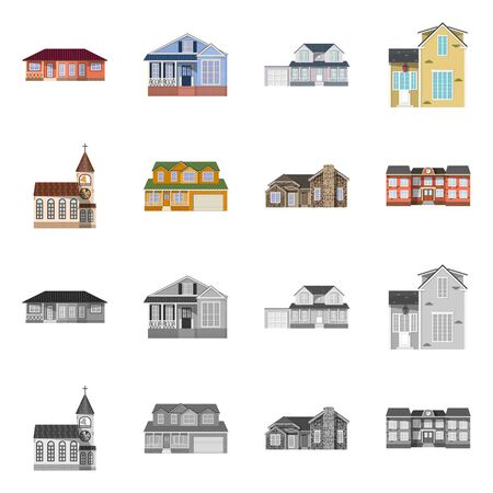 Vector illustration of building and front icon. Collection of building and roof vector icon for stock.  イラスト・ベクター素材