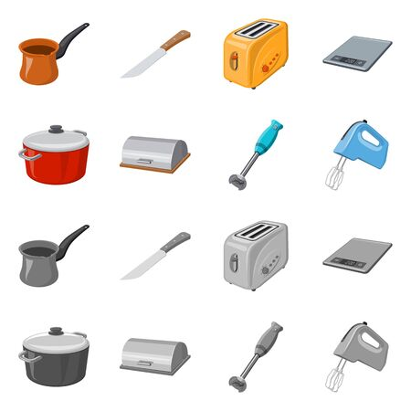 Vector illustration of kitchen and cook symbol. Collection of kitchen and appliance vector icon for stock.