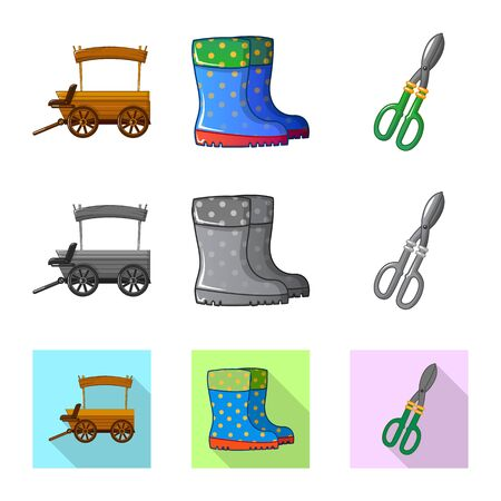 Isolated object of farm and agriculture symbol. Set of farm and plant stock symbol for web. Иллюстрация