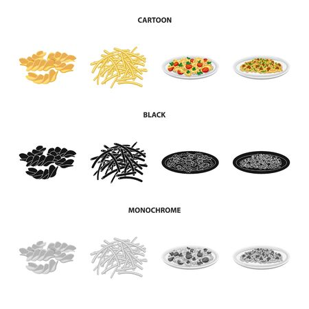 Vector design of pasta and carbohydrate icon. Set of pasta and macaroni stock vector illustration. Иллюстрация