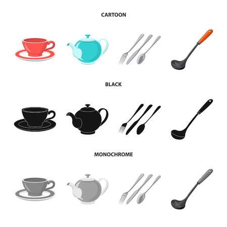 Vector illustration of kitchen and cook. Collection of kitchen and appliance vector icon for stock.