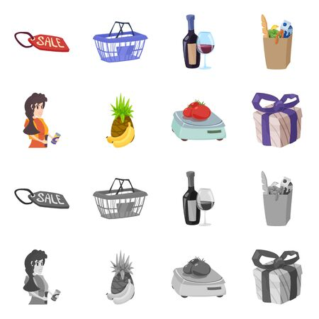Vector illustration of food and drink symbol. Set of food and store stock vector illustration. Ilustrace