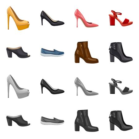Vector illustration of footwear and woman symbol. Collection of footwear and foot vector icon for stock. Ilustração