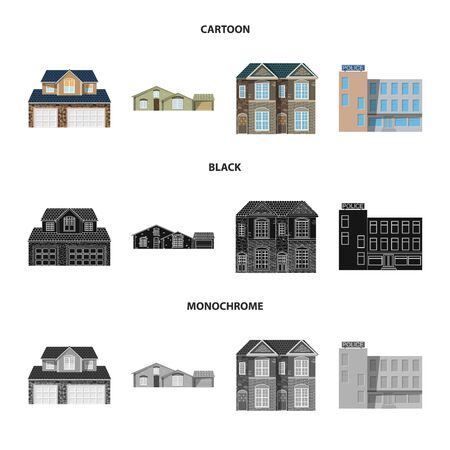 Isolated object of building and front. Set of building and roof vector icon for stock. Stock Illustratie