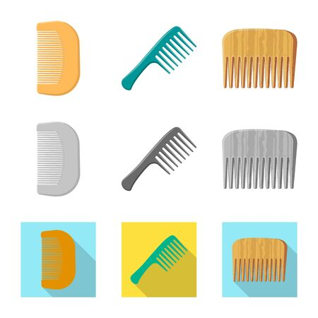 Vector design of brush and hair sign. Set of brush and hairbrush vector icon for stock. Ilustração