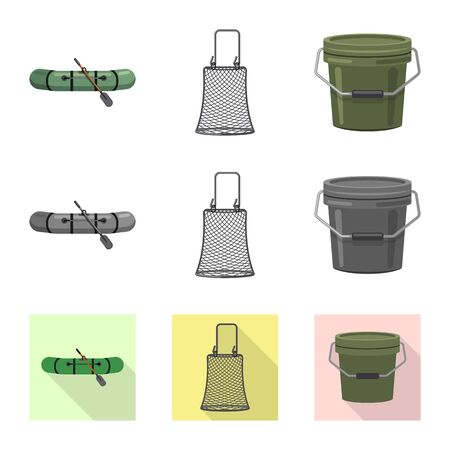 Vector design of fish and fishing symbol. Collection of fish and equipment stock symbol for web.