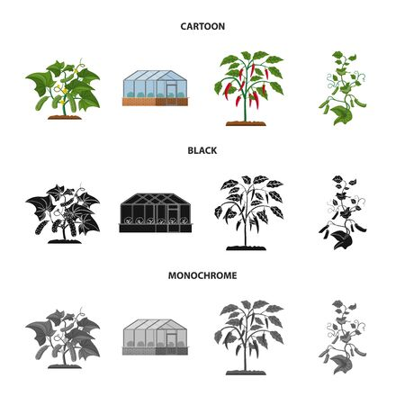 Vector design of greenhouse and plant symbol. Set of greenhouse and garden stock symbol for web.
