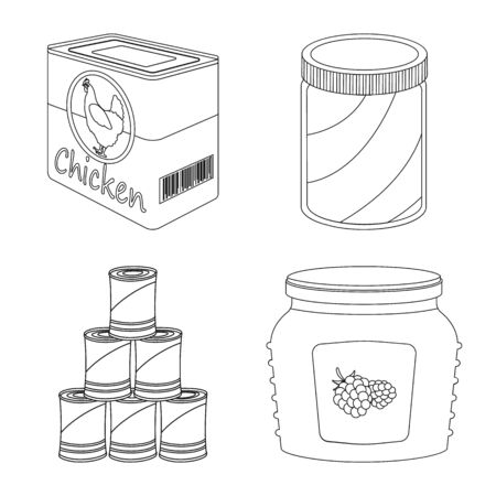 Vector illustration of can and food symbol. Collection of can and package vector icon for stock. Illusztráció