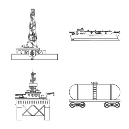 Isolated object of oil and gas icon. Set of oil and petrol stock vector illustration. Ilustração