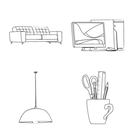 Vector design of furniture and work. Set of furniture and home stock vector illustration.