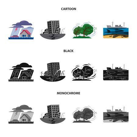 Diseño vectorial de signo natural y de desastres. Conjunto de icono de vector natural y de riesgo para stock.
