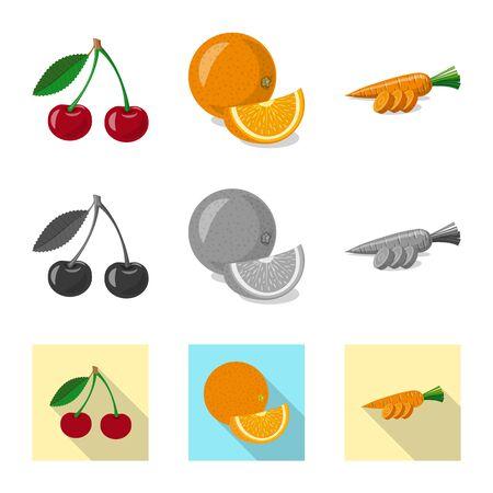 Isolated object of vegetable and fruit. Collection of vegetable and vegetarian vector icon for stock.  イラスト・ベクター素材