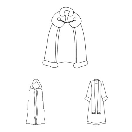 Isolated object of robe and garment symbol. Set of robe and cloth stock symbol for web.