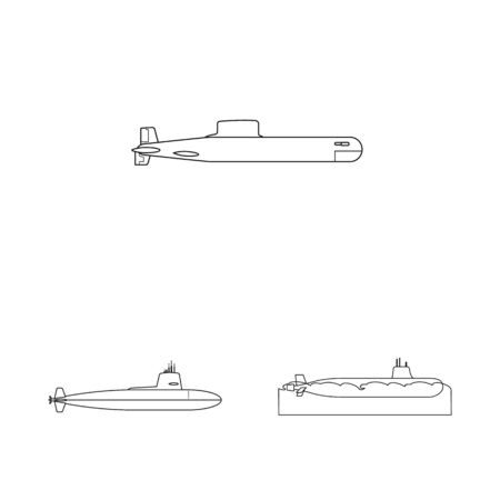 Vector illustration of boat and navy icon. Collection of boat and deep vector icon for stock. Ilustracja