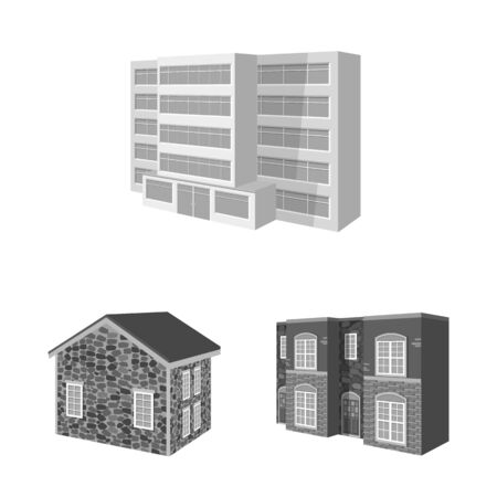 Vector design of architecture and estate sign. Set of architecture and housing stock symbol for web.