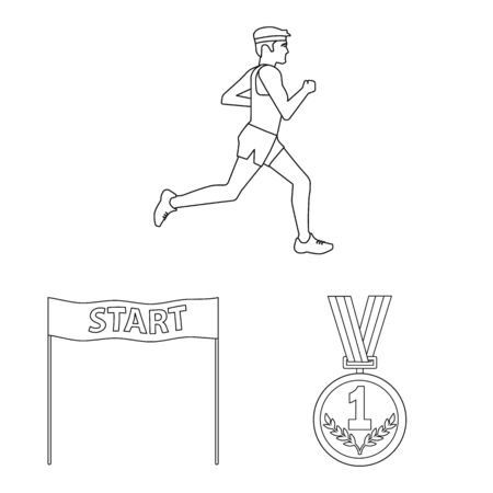 Vector illustration of exercise and sprinter symbol. Collection of exercise and marathon stock vector illustration.