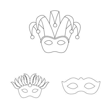 Vector illustration of masquerade and mystery sign. Collection of masquerade and festival stock vector illustration. Foto de archivo - 129900192