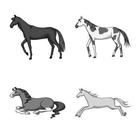 Vector design of farm and riding logo. Collection of farm and equestrian stock symbol for web. Çizim