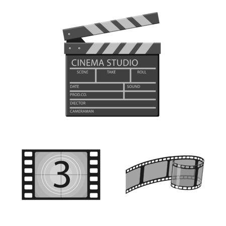 Vector design of cinematography and studio logo. Set of cinematography and filming stock symbol for web.