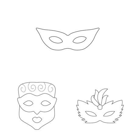 Vector illustration of masquerade and mystery logo. Set of masquerade and festival vector icon for stock. Foto de archivo - 129900338