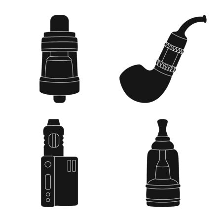 Vector design of e-cig and trendy sign. Set of e-cig and electronic stock symbol for web. Ilustracja