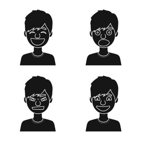 Vector illustration of face and boy sign. Collection of face and young vector icon for stock. Illustration