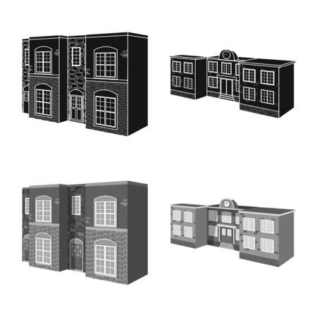 Isolated object of facade and housing logo. Set of facade and infrastructure stock vector illustration. Иллюстрация