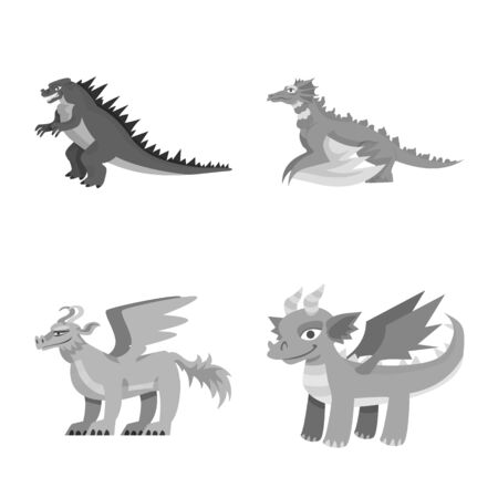 Vector illustration of wild and mythical icon. Set of wild and halloween vector icon for stock. Иллюстрация