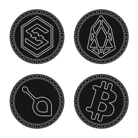 Vector illustration of e-commerce and economy logo. Set of e-commerce and bitcoin stock vector illustration. Ilustrace