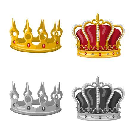 Vector design of medieval and nobility sign. Collection of medieval and monarchy vector icon for stock. Vektoros illusztráció