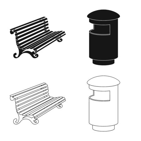 Vector design of urban and street icon. Set of urban and relaxation stock vector illustration. Иллюстрация
