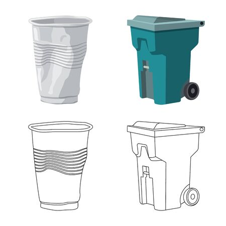 Isolated object of refuse and junk icon. Collection of refuse and waste vector icon for stock.