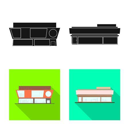 Vector design of boutique and construction symbol. Set of boutique and cityscape stock symbol for web. Иллюстрация