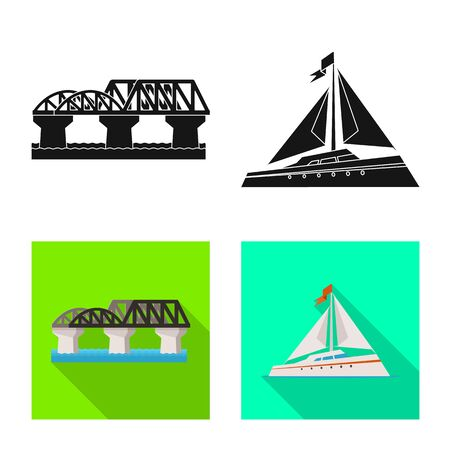 Vector design of journey and exotic sign. Set of journey and national stock symbol for web.