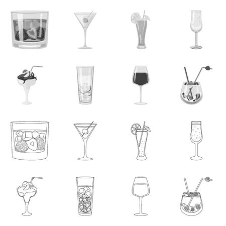 Vector design of liquor and restaurant icon. Collection of liquor and ingredient vector icon for stock.