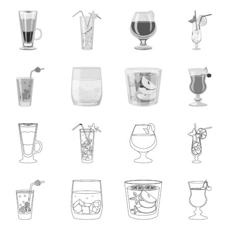 Vector design of liquor and restaurant icon. Set of liquor and ingredient stock vector illustration. Иллюстрация