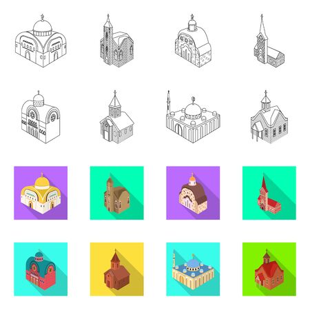 Vector design of temple and historic symbol. Collection of temple and faith vector icon for stock.