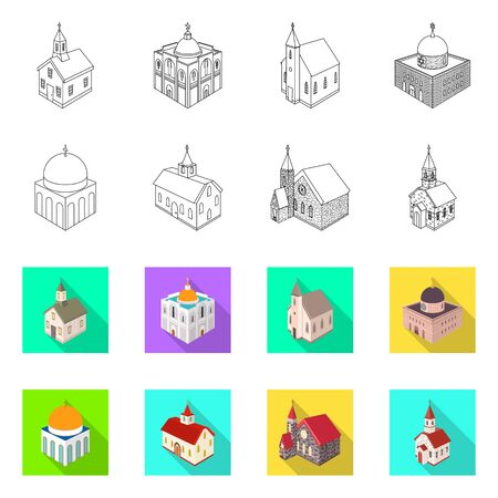 Vector illustration of temple and historic icon. Collection of temple and faith stock symbol for web.