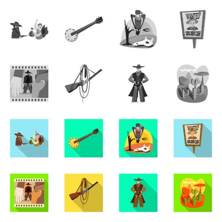 Diseño vectorial del logotipo de texas e historia. Conjunto de símbolo de stock de texas y cultura para web.