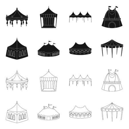 Vector illustration of roof and folding icon. Collection of roof and architecture vector icon for stock.