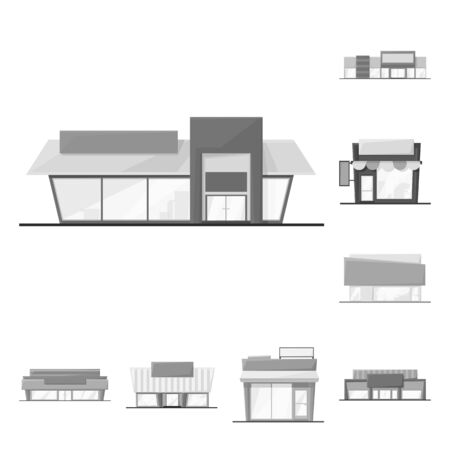 Isolated object of grocery and business symbol. Set of grocery and construction stock symbol for web. Stock Illustratie