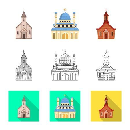 Vector design of cult and temple symbol. Set of cult and parish stock vector illustration. Stock Illustratie