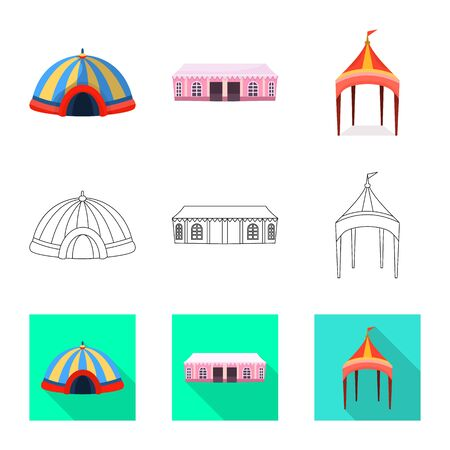 Isolated object of roof and folding logo. Collection of roof and architecture stock symbol for web. Stock Illustratie