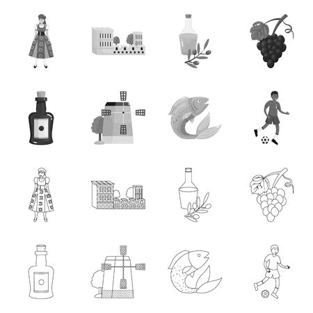 Isolated object of and historic symbol. Collection of and country vector icon for stock. Ilustracja