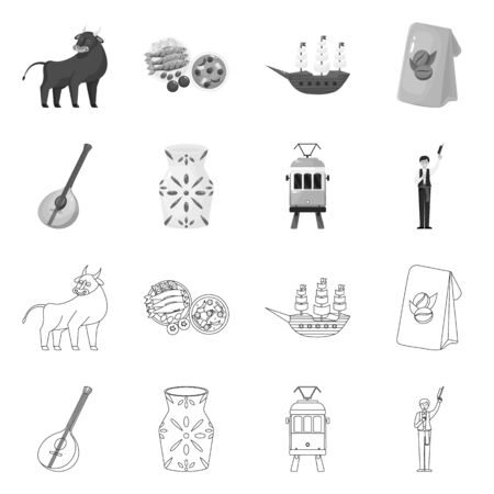 Isolated object of and historic logo. Set of and country stock vector illustration. Иллюстрация